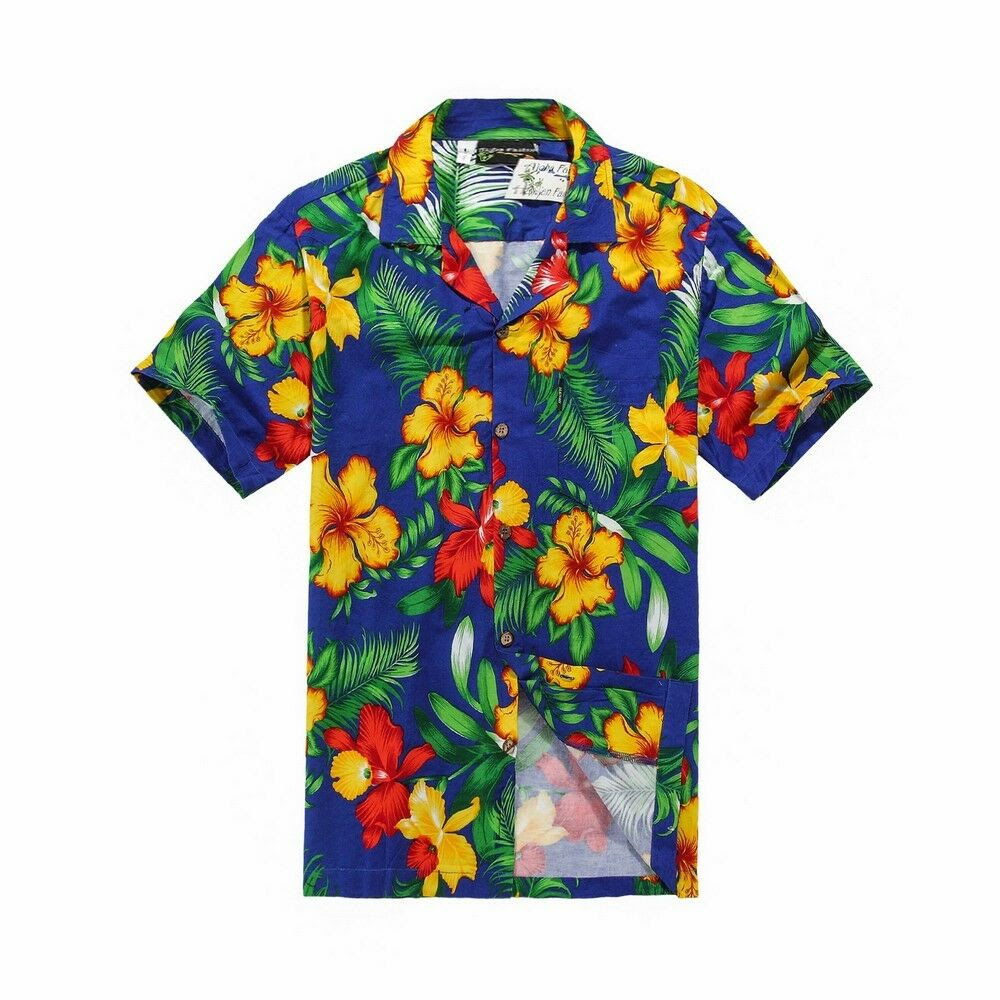 men tropical hawaiian aloha shirt cruise luau beach party