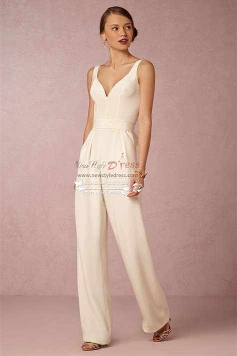 modern bridal jumpsuit simple wedding pantsuits wps
