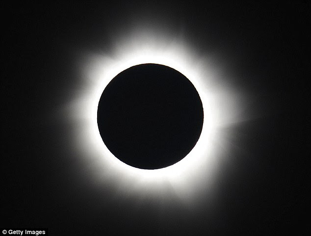 The solar eclipse  will see up to 84 per cent of the sun covered over London and around 94 per cent in the main cities in Scotland (pictured is a full eclipse over Australia in 2012). Northern Scandinavia and the Faroe Islands will experience a full eclipse for two minutes and nine seconds