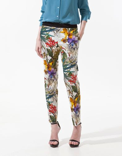 Zara Tropical Print Pants