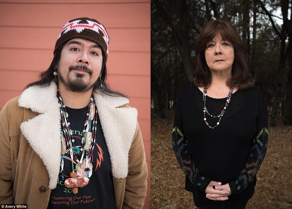 Tribe member Michael Ramirez (left) and tribal council treasurer Lorena Davis (right)