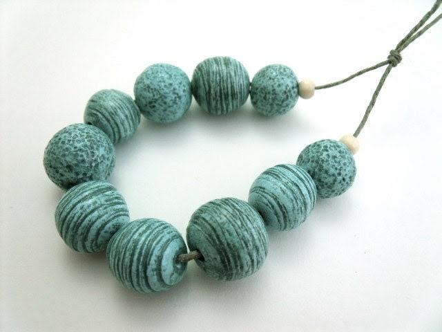 Rustic, Earthy Aqua-Blue Polymer Clay Beads