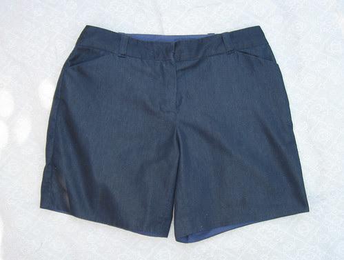 Denim shorts flat front