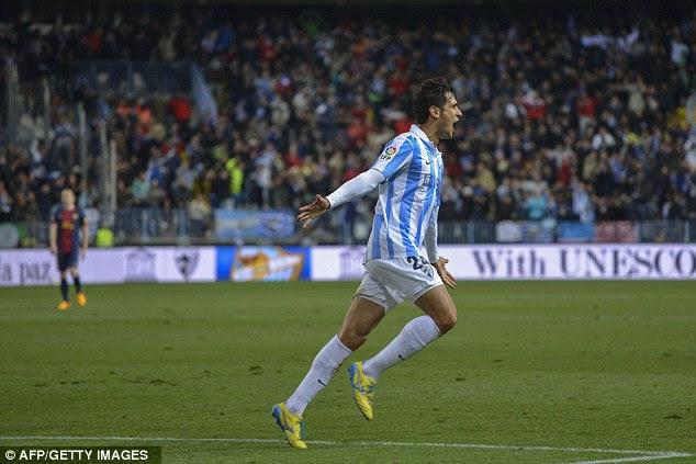 Remember me? Former Manchester City hitman Roque Santa Cruz made it 2-2 after Pique's goal