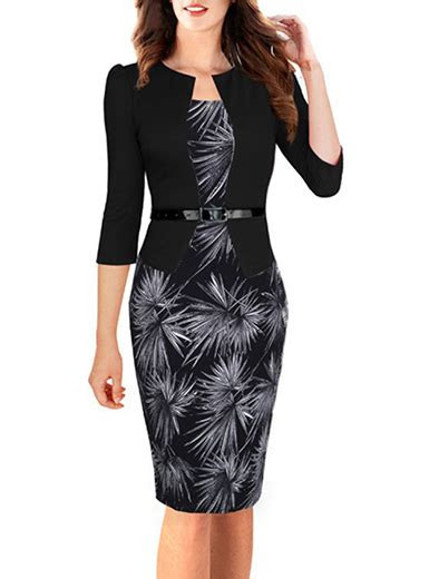 midi peplum dress attached jacket black white floral pencil skirt knee length