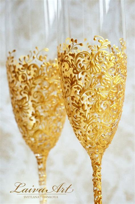 Gold Wedding Champagne Flutes Wedding Champagne Glasses