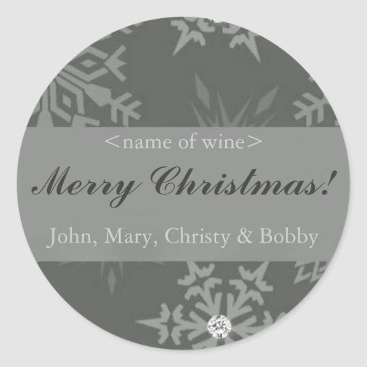 Snowflake on Silver Christmas Wine Labels stickers