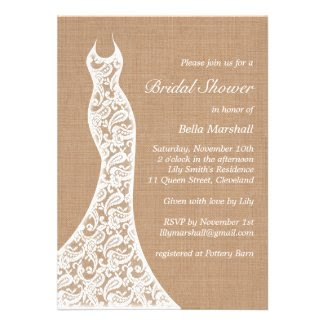 Beautiful Lace & Burlap Bridal Shower Invitation