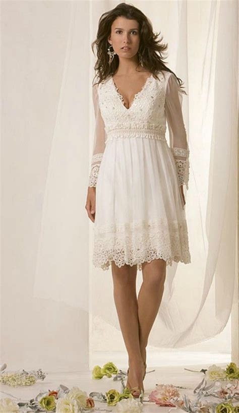Simple Informal Short Long Sleeve Wedding Dress for Older