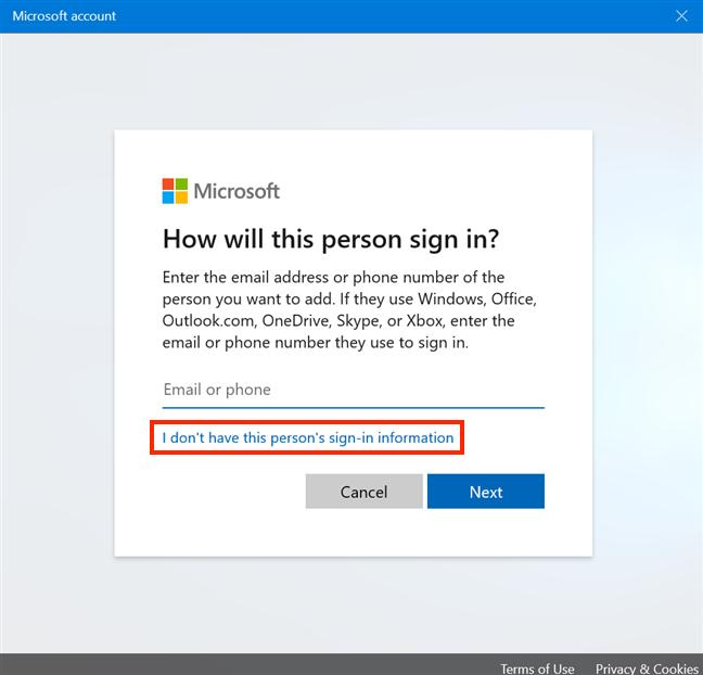 Evite crear una cuenta de Microsoft