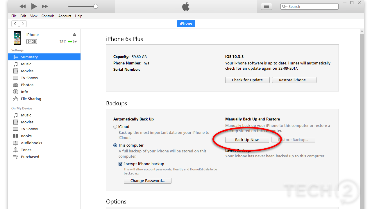 Backing up your iOS device via iTunes