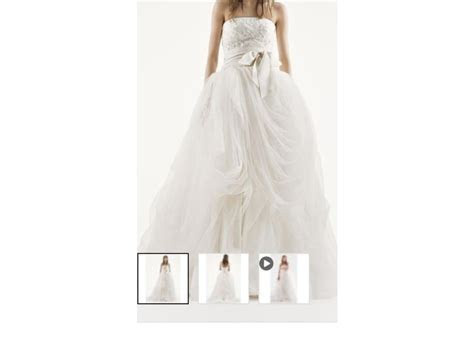 Vera Wang White Tossed Tulle Wedding Dress   New, Size: 6