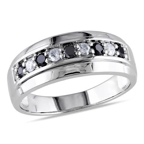 10K WHITE GOLD .50CTW MIDNIGHT DIAMOND GENTS RING   Charm