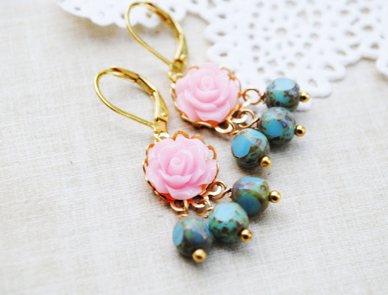 Romantic Earrings, Shabby Chic, Floral Spring Blossoms, Resin Flower, Brass, Boho Chic, Modern Earrings