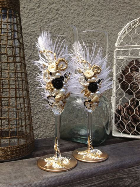 Great Gatsby wedding champagne glasses with by