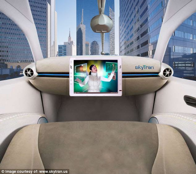 Luxurious: Unlike monorails at theme parks, the pods will be plush and private, similar to a a car (illustrated). They will also travel much faster at 43mph (70km/h) - although these speeds could rise if the system is rolled out across greater distances