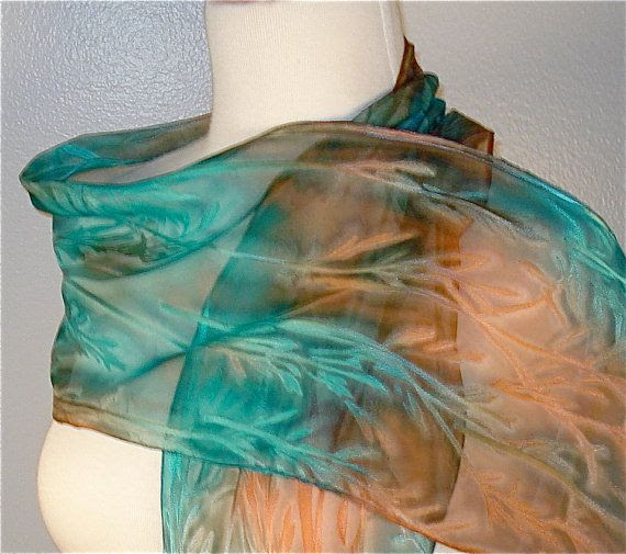 Silk Scarf in Turquoise and Copper...love these colors!