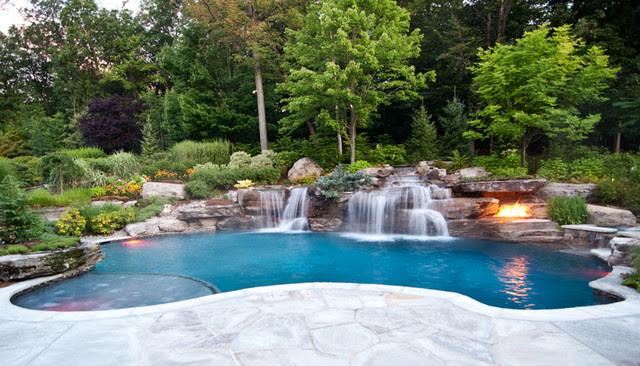 Backyard Swimming Pool Waterfall Design- Bergen County NJ ...