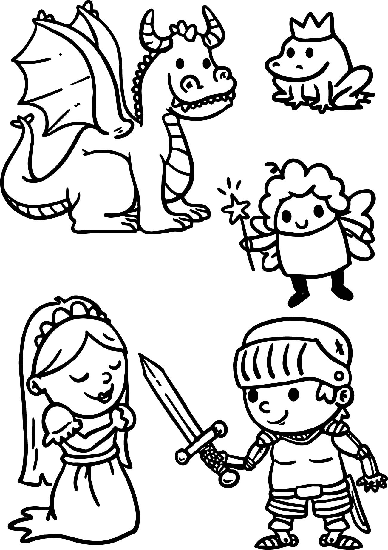 Cute Cartoons Of Fairy Tale Coloring Page | Wecoloringpage.com