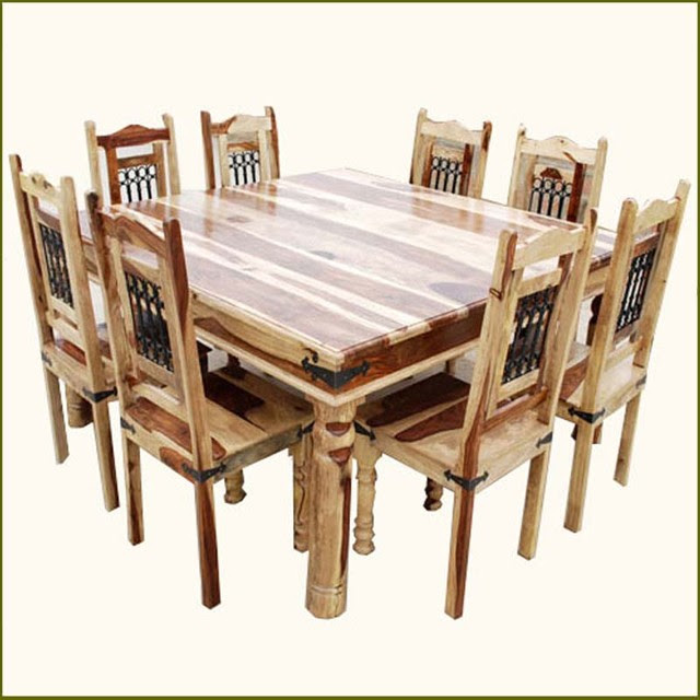 Elegant Square Transitional Solid Wood Dining Room Table and Chair ...