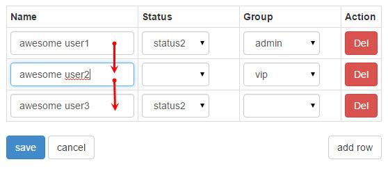 javascript - On xeditable grid where move a cursor same column ...