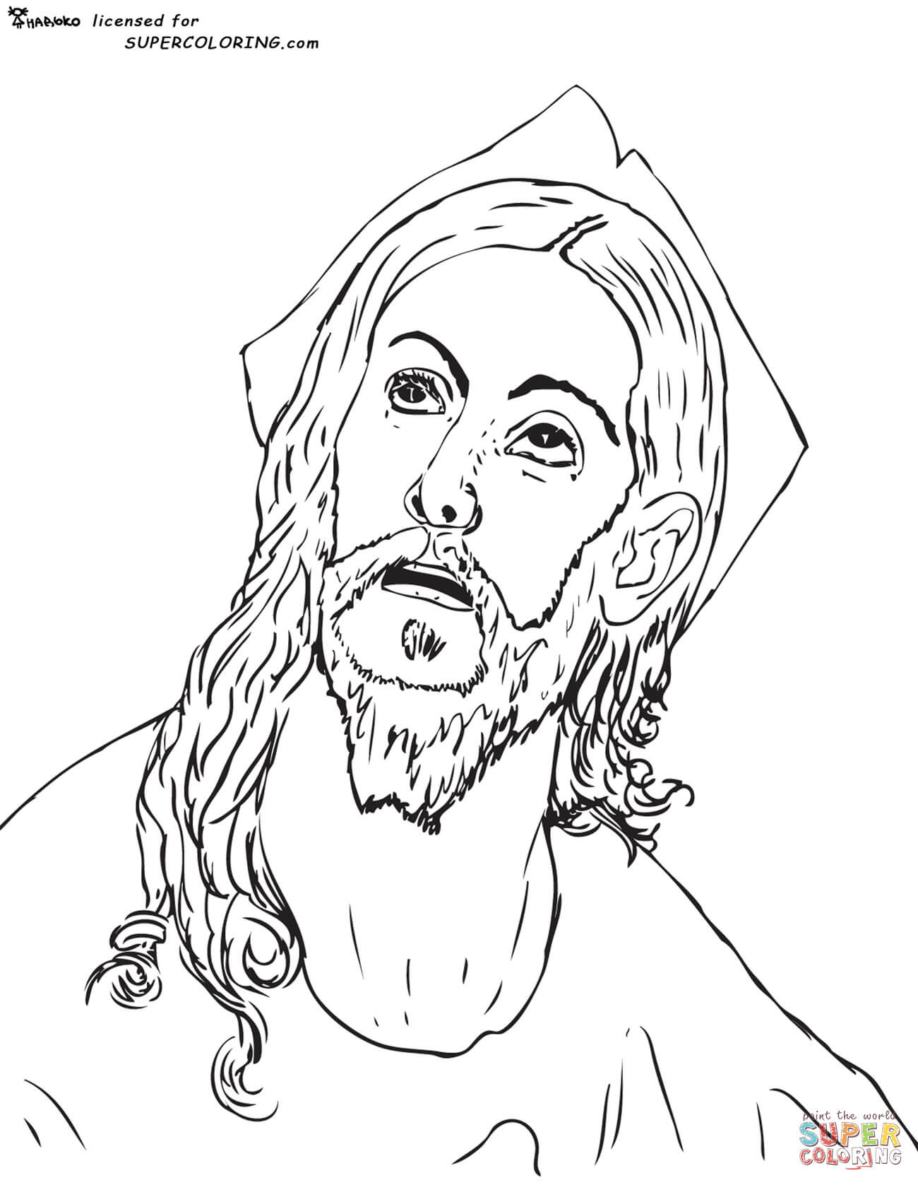 Download Head of Christ by El Greco coloring page | Free Printable Coloring Pages