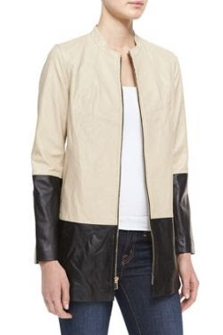 Neiman Marcus Long Colorblock Leather Jacket