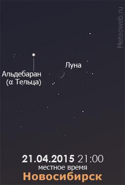 Растущая Луна на вечернем небе Новосибирска 21 апреля 2015 года