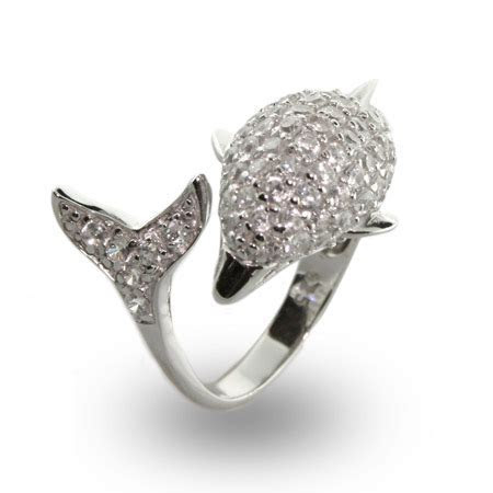 Tungsten Carbide Rings: Sterling Silver Dolphin