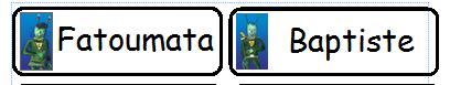 Etiquettes prénoms avec Patati et Patata