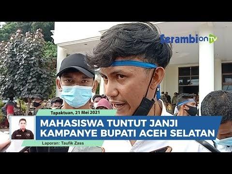 VIDEO Tuntut Janji Kampanye Bupati, Mahasiswa Gelar Aksi Unjuk Rasa ke Kantor Bupati Aceh Selatan