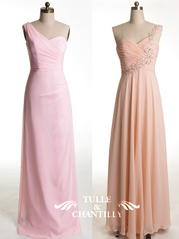 Tulle & Chantilly Affordable Pink and Coral Bridesmaid Dresses