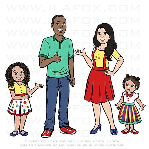 caricatura família, caricatura digital, caricatura divertida, caricatura vlog, by ila fox