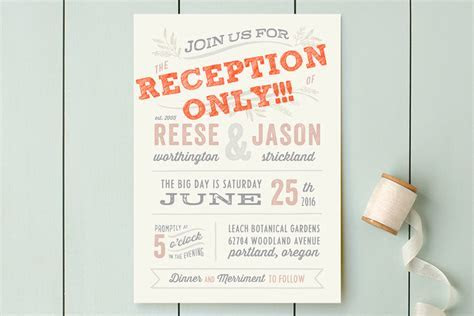 Reception only wedding invitations that won't make your