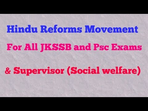 Hindu Reforms movement ll jkssb ll Supervisor