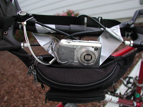 Picture of Casio ex-z750 mounted on a bike