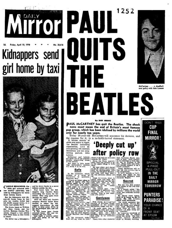 Há 45 anos, Paul McCartney anunciava o fim dos Beatles