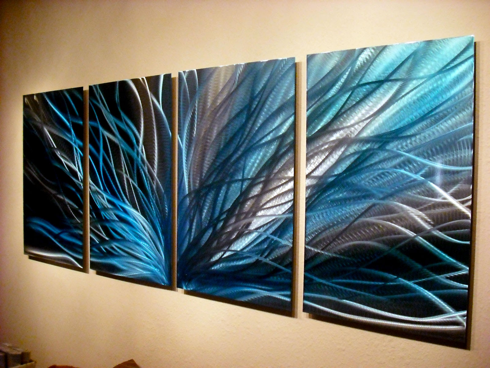 Radiance in Blues- Abstract Metal Wall Art Contemporary ...