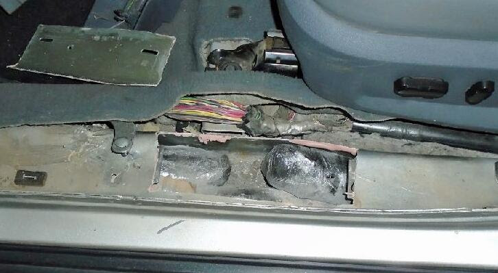 A CBP narcotics detection canine alerted officers to the presence of meth within the rocker panels of a smuggling vehicle attempting to enter through the DeConcini crossing.