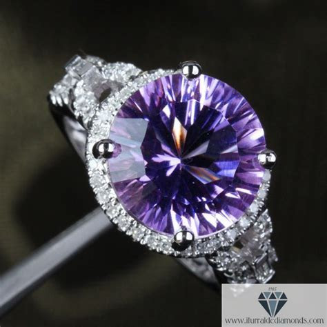 12mm Round Cut Amethyst Unique Link Band Diamond Pave Halo