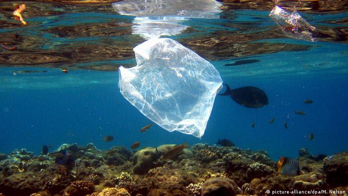 Bolsa de plástico en el mar.