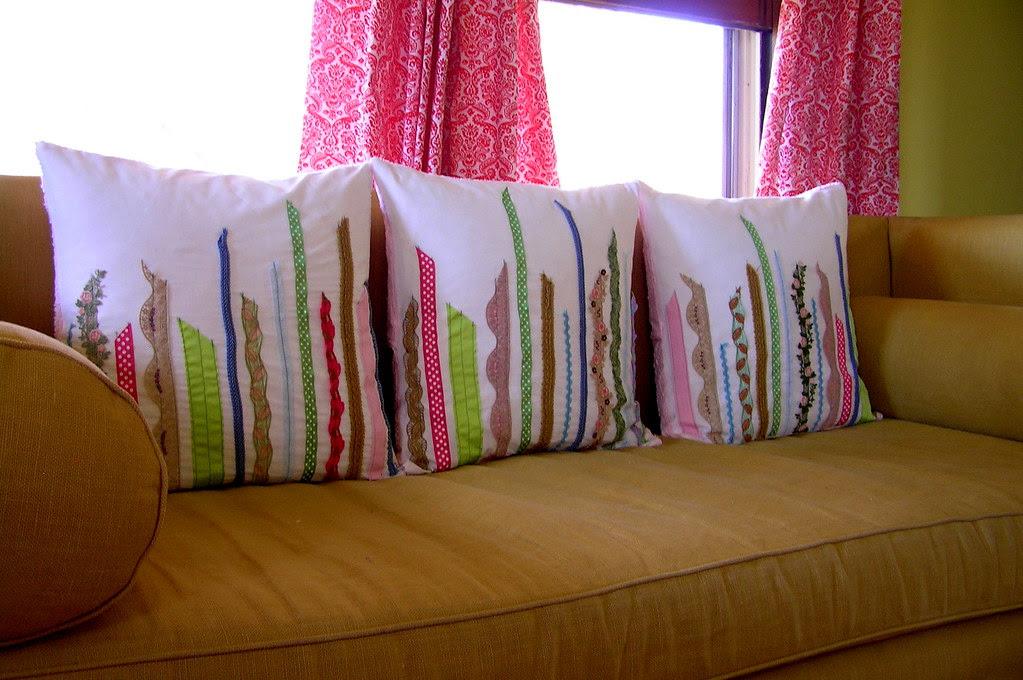 şeritlerle yastık süsleme dantel fisto