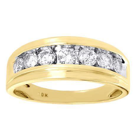 10K Mens Yellow Gold 7 Stone Diamond Engagement Ring