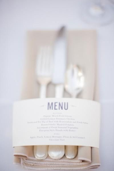 Wedding Menu Wrapped Napkin