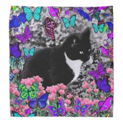 Freckles in Butterflies III, Tux Kitty Cat Bandana