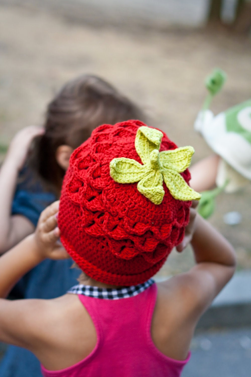 Funny Crochet Halloween Strawberry Hat Girlie Teen Woman Fall Autumn Accessories in Red Green designed by dodofit on Etsy