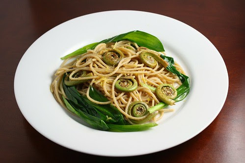 Whole Wheat Pasta with Fiddleheads and Ramps