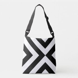 Bold Geometric Black and White Chevrons Tote Bag