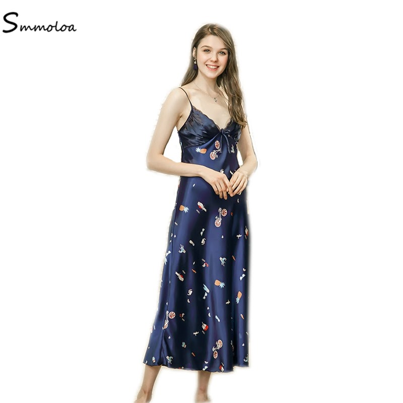 Cheap  Smmoloa Wholesale Sleepwear Silk Priting Nightgowns Cheap Sexy Lingerie