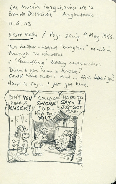 Sketch of Pogo panel (Walt Kelly)